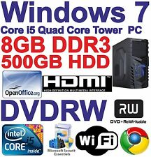 Windows 7 Core i5 Quad Core Tower PC - 8GB DDR3 - 500GB HDD - DVDRW - HDMI Wi-Fi