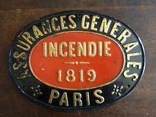 ANCIENNE PLAQUE TOLE ASSURANCES GENERALES INCENDIE 1819 PARIS FORME OVALE