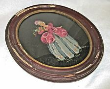 Antique Oval Framed Wool Petit Point/Needlepoint Lady with Flowers