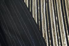 Black and Gold Stripe Rayon Spandex Sequin Fabric by the yard