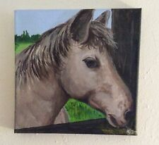 HORSE PAINTING, HAND PAINTED ON CANVAS 8 X 8""