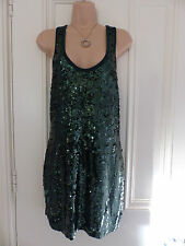 L'Art de River Island size 10 dark green sequinned jersey material dress