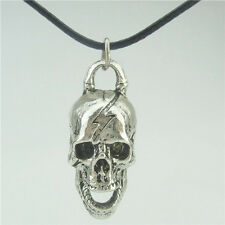 "Antique Silver Ghost Skull Skeleton Pendant Charms Jewelry Making 17"" Necklace"