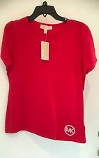 MICHAEL KORS WOMENS SOLID COTTON S/S TOP SIZE L Red NWT