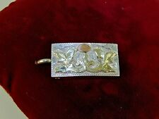 ALC MEXICO Signed Vintage Solid Sterling Silver 18K Gold Belt Buckle Western Men