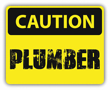 "Caution Plumber Sign Warning Car Bumper Sticker Decal 5"" x 4"""