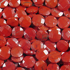 15MM RED JASPER FACETED COIN SHAPE GEMSTONE BEADS