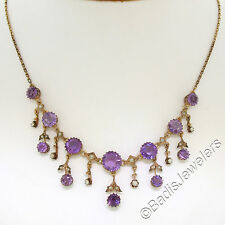 Antique Victorian 8k Rose Gold Amethyst & Seed Pearl Dangle Chandelier Necklace