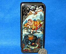 Russian small GICLEE Lacquer Box PALEKH As pike orders Fairy Tale Christmas GIFT