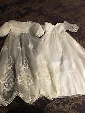 Infant Organza Silk Embroidered 2 Piece Christening Dress Gown Beads Sequin Shoe