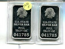 STATE OF ILLINOIS 1 OUNCE .999 FINE SILVER BAR LOT OF 2  7239J