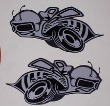 PAIR GRAY / BLACK Rumble Bee DECALS Decal Sticker Left and Right side Super