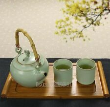 NEW FINE CHINA PORCELAIN CHINESE TEA SET BAMBOO HAND TEAPOT 2 CUPS SERVING TRAY