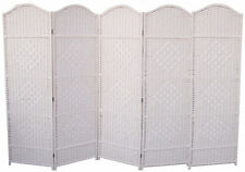 WHITE 5 PANEL DRESS SCREEN CLASSIC WOVEN PARTITION DIVIDER