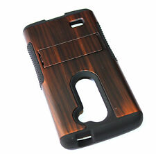 for LG Leon LTE / Tribute 2 - BROWN WOOD ARMOR KICKSTAND HYBRID SKIN CASE COVER