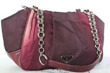 $998~PRADA~OMBRE Pink Red Purple Maroon Wine LEATHER Bag~Silver CHAINLINK RARE