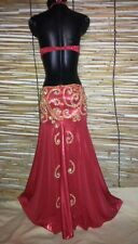Egyptian Belly Dance Costume bra & Skirt Set Professional Dancing Red Gold