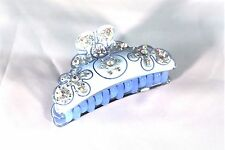 New Light Sky Blue Hair Clip Claw With and Clear Austrian Crystals