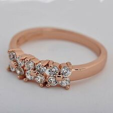 Fashion jewellery Rose Gold Filled crystal 3-Flower Clover Band Ring 7#