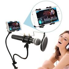 Recording Microphone Stand with Mic Wind Pop Filter Mask Shield +Phone Holder