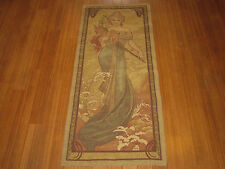 """Large Art Nouveau Mucha Tapestry Wall Hanging 26""""x62"""" Excellent -made in France"""
