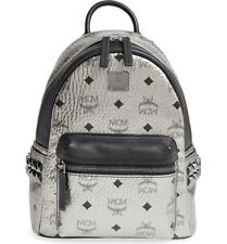 $720+ MCM Small Stark Studded Coated Canvas & Leather Backpack Silver / Black
