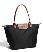 longchamp Le Pliage nylone tote handbag black large authentic new France