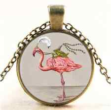 Vintage Frog Prince And Flamingo Princess Cabochon Glass Bronze Necklace