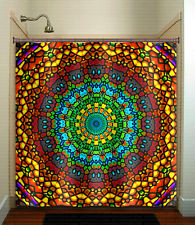 church ceiling stained glass bohemian mandala shower curtain custom bathroom dec