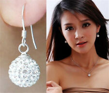 Jewelry Fashion Lady Silver Plated Rhinestone Ball Hook Drop Dangle Earrings