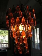 VTG Lucite SWAG LAMP Mid-Century Amber Prisims Hanging Light Tiered