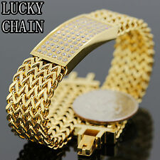 MEN`S STAINLESS STEEL ICED OUT LAB DIAMOND GOLD BRACELET/59g/IB18