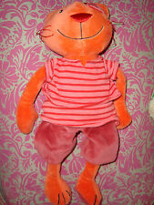 I # DOUDOU PLUSH Chat Pirate Coco CREDIT AGRICOLE Orange Rouge Rose Rayé 35 Cm