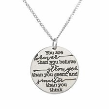 You're Braver Than You Believe Inspirational Pendant, Motivational Jewelry