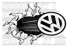 30x20CM VW T2 T25 T4 T5 BEETLE GOLF decal sticker vinyl Break Through Tear Smash