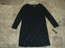 New With Tags Tahari Navy Blue Lace Sequin Long Sleeve Knee Length Dress 10