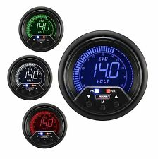 PROSPORT 60mm EVO Red Blue Green White Led Voltmeter Volt Gauge Peak & Warning