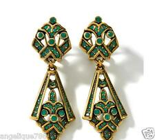 Heidi Daus May I Have This Dance Earrings with Pavé Drops Green Crystal PIERCED