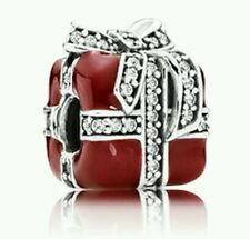 NEW Authentic Pandora Sparkling Surprise Red Enamel Gift #791772CZ Charm Bead