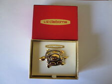 New Liz Claiborne Silver & Gold Spotted Turtle  Pin Brooch in Origingal Box