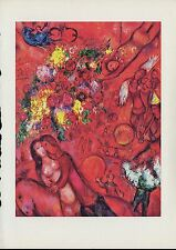"""1963 Vintage """"BOUQUET AND RED CIRCUS, 1960"""" by MARC CHAGALL COLOR Art Lithograph"""