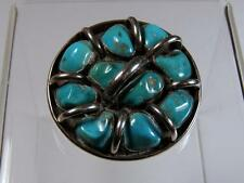 Important Lee & Mary Weebothee Sterling Silver Zuni Turquoise Nugget Pin Pendant