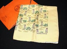 Auth HERMES pochettep Scarf Handkerchief Carre Mountain climbing pattern Yellow
