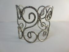 Lee Angel Antique Silver Swirl Wide Cuff Bracelet NIP $150