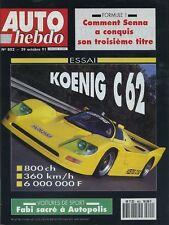 AUTO HEBDO n°802 du 29 Octobre 1991 KOENIG C62