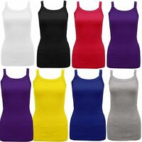 WOMENS LADIES PLUS SIZE PLAIN STRETCHY RIB VEST TOP T SHIRT RIB STRAP 8- 28