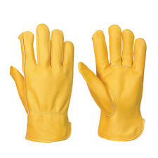 YELLOW LEATHER WORK GLOVES FULLY LINED DRIVERS COLD WORK -MENS SIZE 9 L