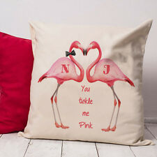 Personalised Pink Flamingo Funny Love Valentines Gift Vintage Cushion VD06