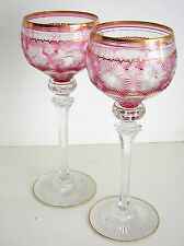 2 VINTAGE VAL ST LAMBERT PINK CRAN GOLD RIM CASED TO CLEAR CRYSTAL WINE ROEMERS