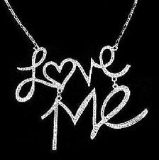 LOVE ME Kette Anhänger Statement Halskette Blogger Necklace silber-farbig SEXY